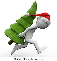 menschliche , weihnachten, 3d, baum