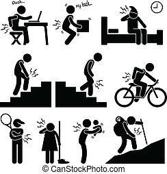 menschlicher körper, schmerz, position, haltung