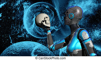 menschlicher schädel, raum, tief, weibliche , besitz, android, zukunftsidee