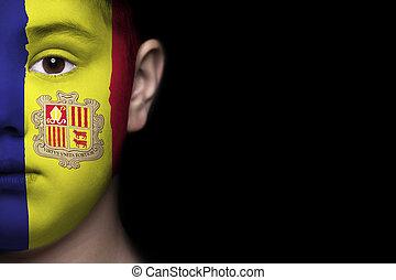 menselijk, andora, gezicht, vlag