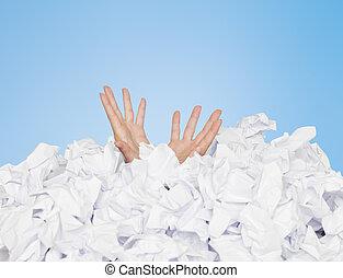 menselijk, begraven, in, papieren