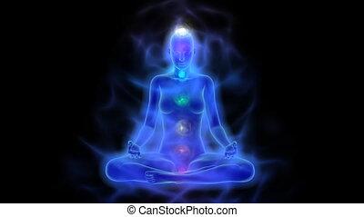 menselijk, energie, lichaam, aura, chakras, in, meditatie