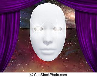 menselijk gezicht, masker, en, gordijnen