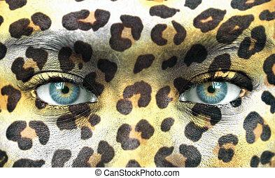 menselijk gezicht, met, dier modelleert, -, sparen,...