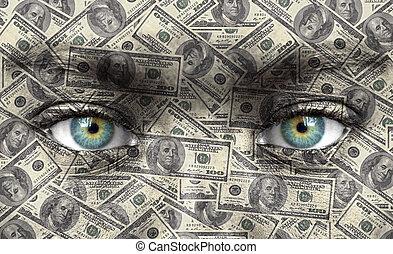 menselijk gezicht, met, geld, textuur, -, rijkdom, concept