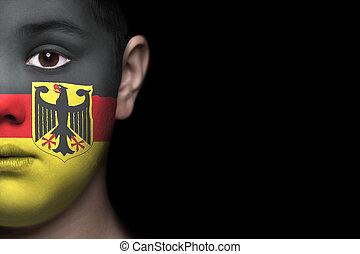menselijk gezicht, vlag, duitsland