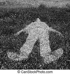 menselijk, gras, schets, figuur, imprinted