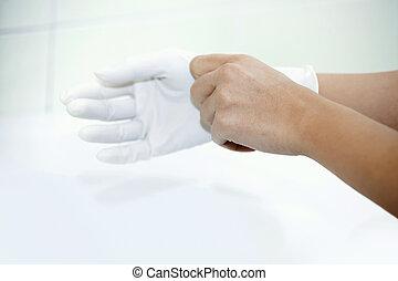 menselijk, handschoenen, boeiend, handen, rubber