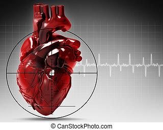 menselijk hart, onder aanval, abstract, medisch, achtergrond