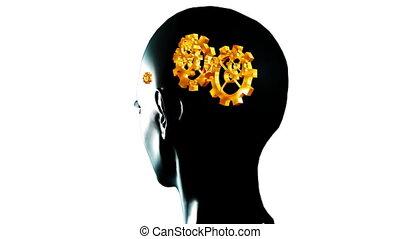 menselijk hoofd, met, toestellen, en, cogs, in de motie