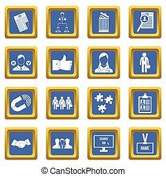 menselijk, hulpbron, management, iconen, set, blauwe