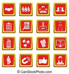 menselijk, hulpbron, management, iconen, set, rood
