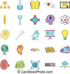 menselijk, intelligentie, iconen, set, spotprent, stijl
