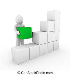 menselijk, kubus, groene, doosje, 3d, witte