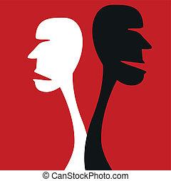 menselijk, meningsverschil, concept.