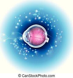menselijk oog, anatomie, op, een, mooi, abstract, gloeiend, achtergrond