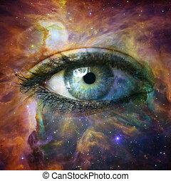 menselijk oog, kijken in, heelal, -, communie, van, dit,...
