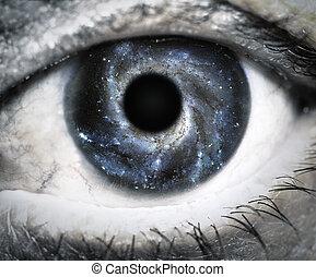 menselijk oog, kijken in, universe.