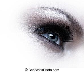 menselijk oog, met, eyelashes, op, witte achtergrond