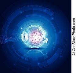 menselijk oog, visie, abstract, blauwe , technologie, achtergrond