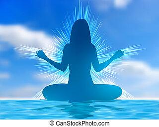 menselijk, silhouette, meditating., eps, 8