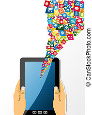 menselijke handen, houden, tablet pc, met, app, icons.