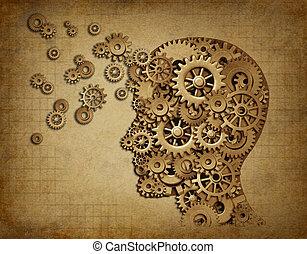 menselijke hersenen, functie, grunge, met, toestellen