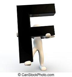 menselijke mensen, karakter, black , brief, vasthouden, kleine, f, 3d