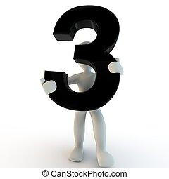 menselijke mensen, karakter, getal, black , vasthouden, 3, kleine, 3d