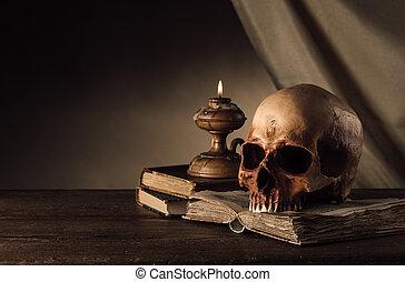 menselijke schedel, en, oud, boekjes , stilleven