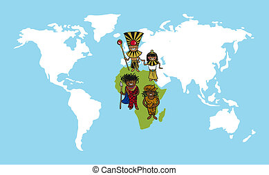 mensen, afrika, stripfiguren, wereld, illustration., kaart, verscheidenheid