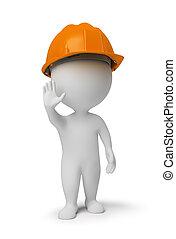 mensen, arbeider, pose, stoppen, -, kleine, 3d