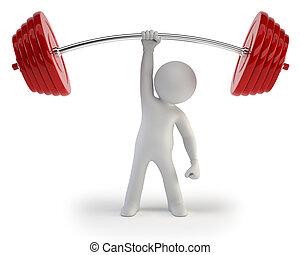 mensen, atleet, -, gewichten, kleine, het tilen, 3d