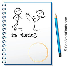 mensen, beeld, ijs, aantekenboekje, skating, twee