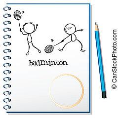mensen, beeld, twee, aantekenboekje, badminton, spelend