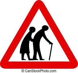 mensen, bejaarden, meldingsbord