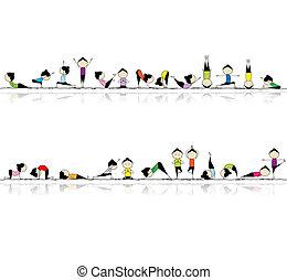 mensen, beoefenen, yoga, seamless, achtergrond, voor, jouw,...