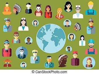 mensen, beroepen, avatars, globaal, plat