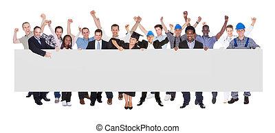 mensen, beroepen, gevarieerd, vasthouden, leeg, buitenreclame, het glimlachen