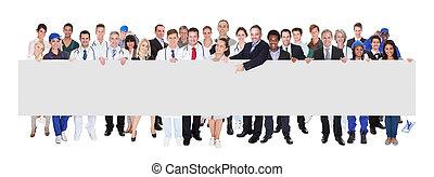 mensen, beroepen, gevarieerd, vasthouden, leeg, spandoek