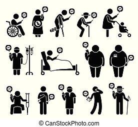 mensen, beweeglijk, medisch, telefoon, gezondheidszorg, app, need.