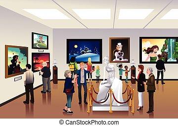 mensen, binnen, een, museum