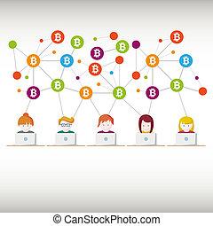 mensen, bitcoin, translations, geld, illustratie