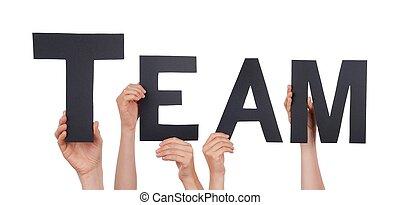 mensen, black , vasthouden, team