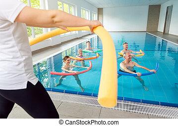 mensen, blauwgroen, sessie, therapie, fitness, gedurende, stand, lichamelijk