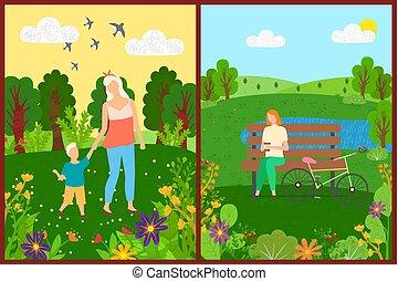 mensen, bomen, park, vector, vrije tijd, bloemen