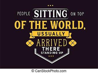 mensen, bovenzijde, zittende , wereld