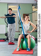 mensen, centrum, fitness
