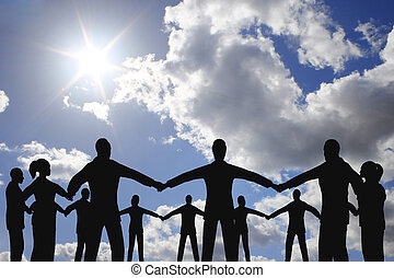 mensen, cirkel, groep, op, wolk, zonnig, hemel