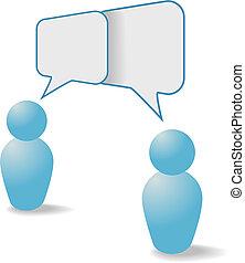 mensen, communicatie, aandeel, symbolen, toespraak, bellen, praatje